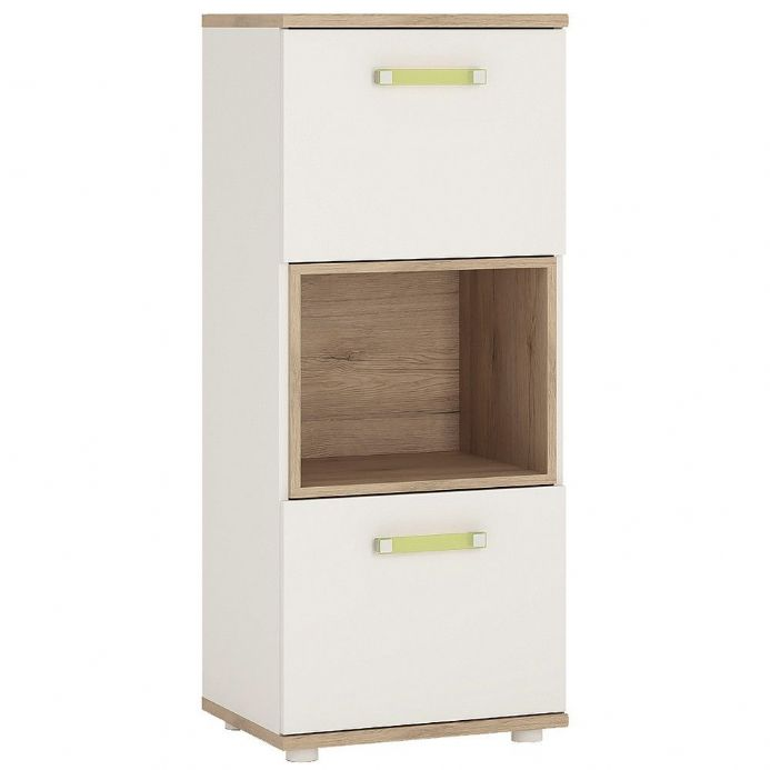 4KIDS 2 door narrow cabinet with open shelf in light oak and white high gloss with lemon handles